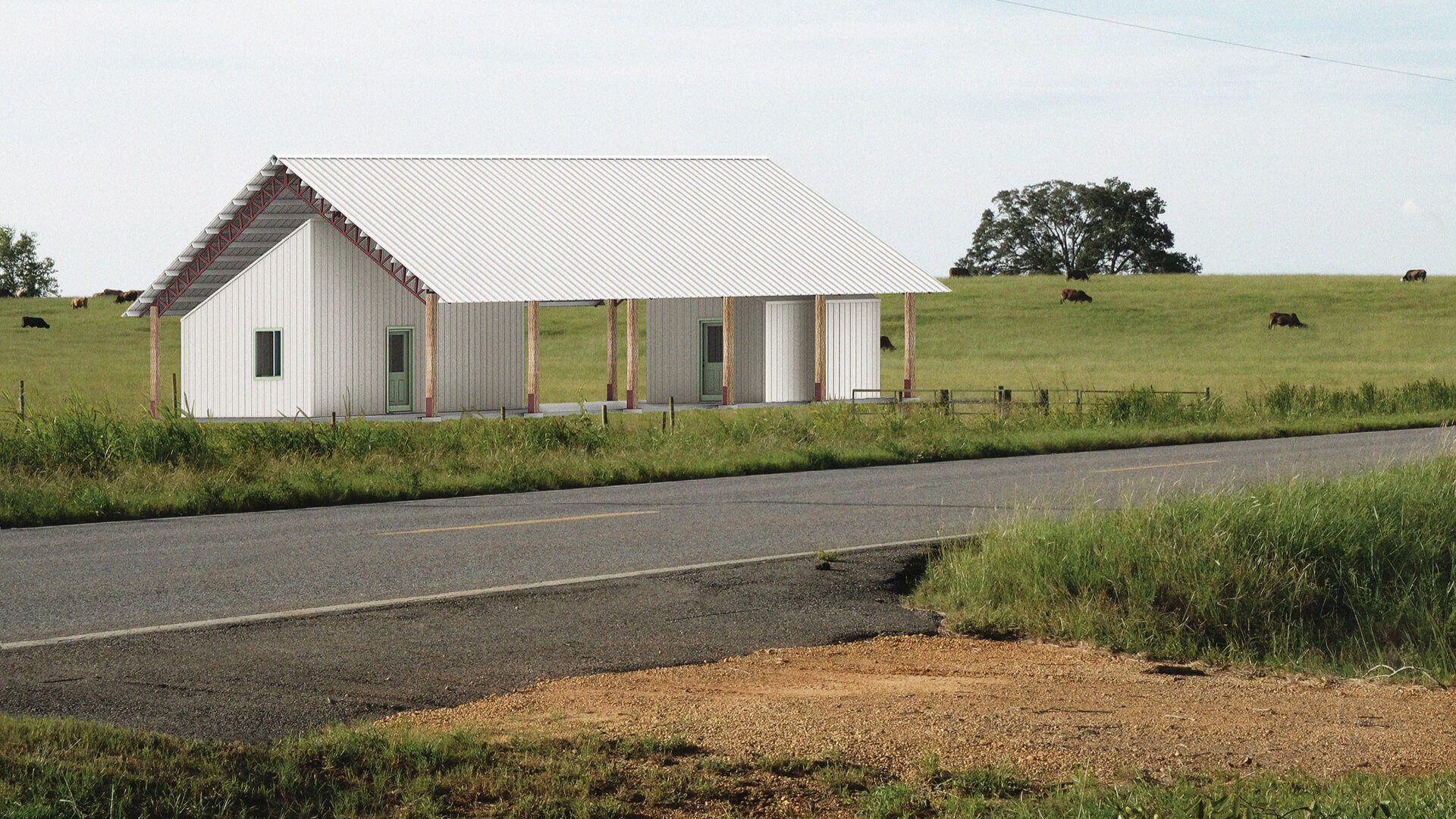 Rural Studio's kit house prototype project rendering pictured in an ideal setting | Kit House by Rural Studio | STIRworld