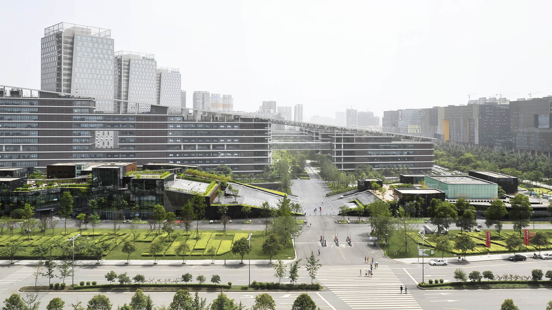 Side view from the axis of the Museum of Modern Art in Chengdu, China, designed by Liu Jiakun |Museum of Modern Art Chengdu | Li Jiakun | STIRworld