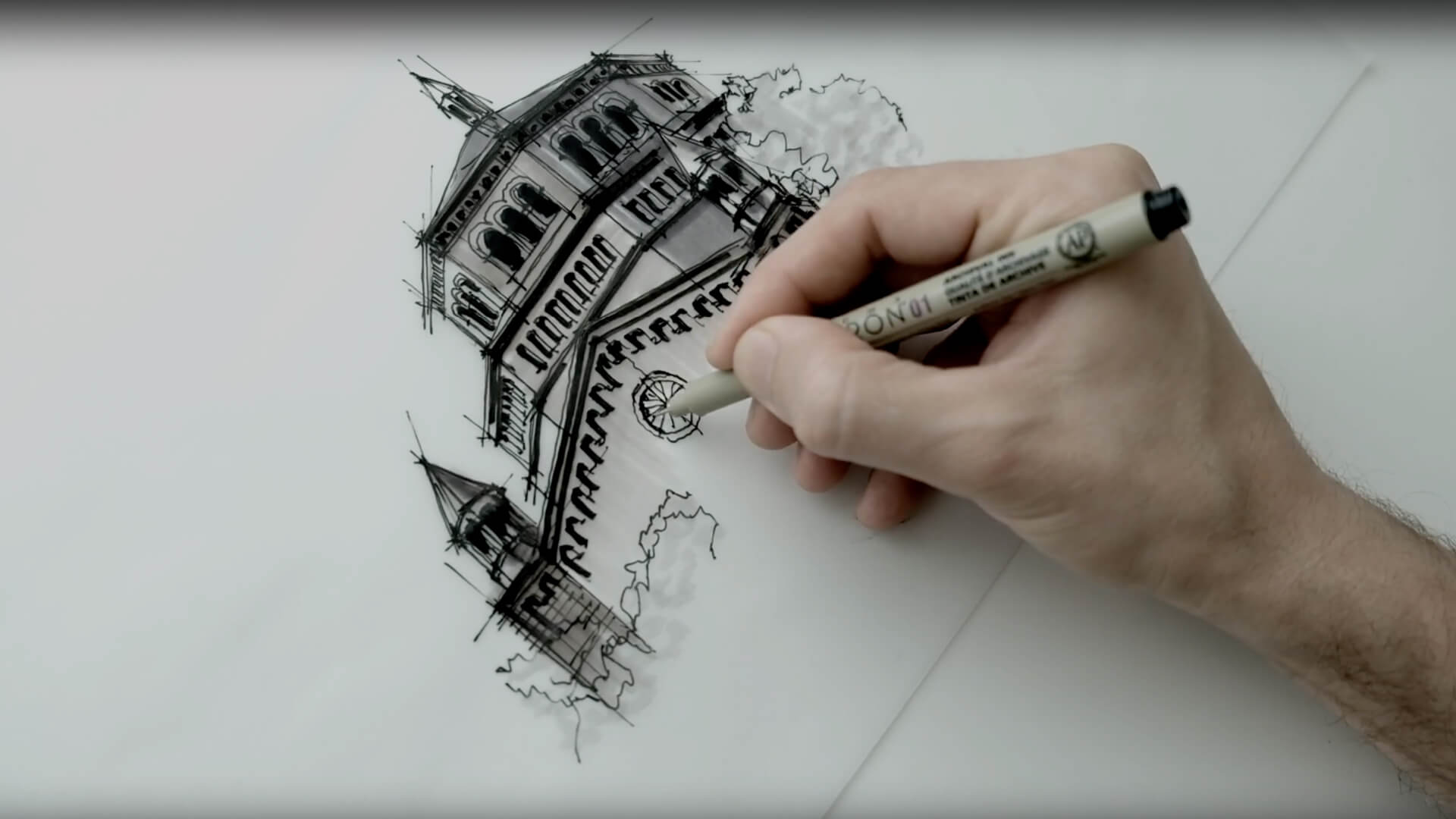 Sketching a slice of the Powell Library, Los Angeles | Drawing Tutorial | Dan Hogman | STIRworld