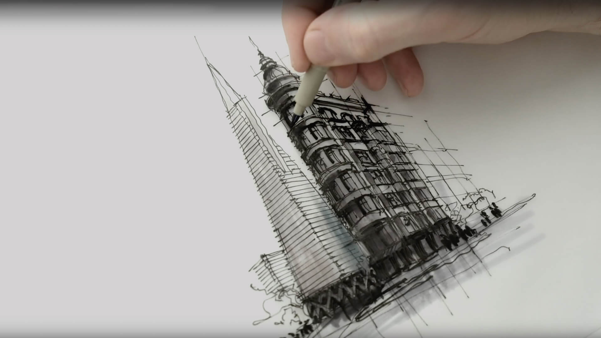 Sketching a view of San Francisco's Transamerica Pyramid and the Sentinel Building | Drawing Tutorial | Dan Hogman | STIRworld