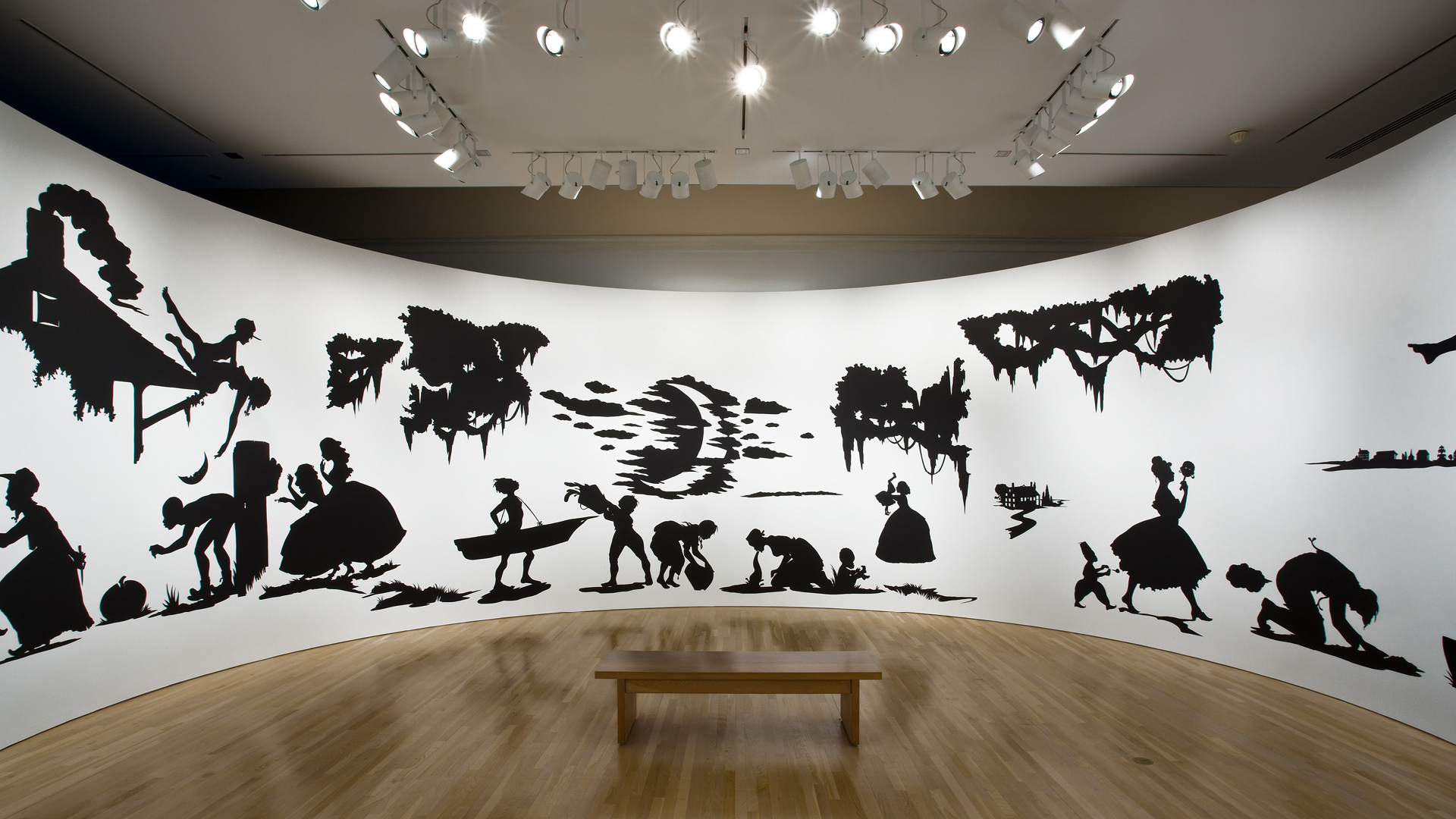 Slavery! Slavery! Presenting a grand and panoramic journey into picturesque Southern Slavery; dimensions variable: 144 x 1,020 inches approx, 1997, installation view at the Hammer Museum, Los Angeles  | Kara Walker |  Tate London | STIRworld