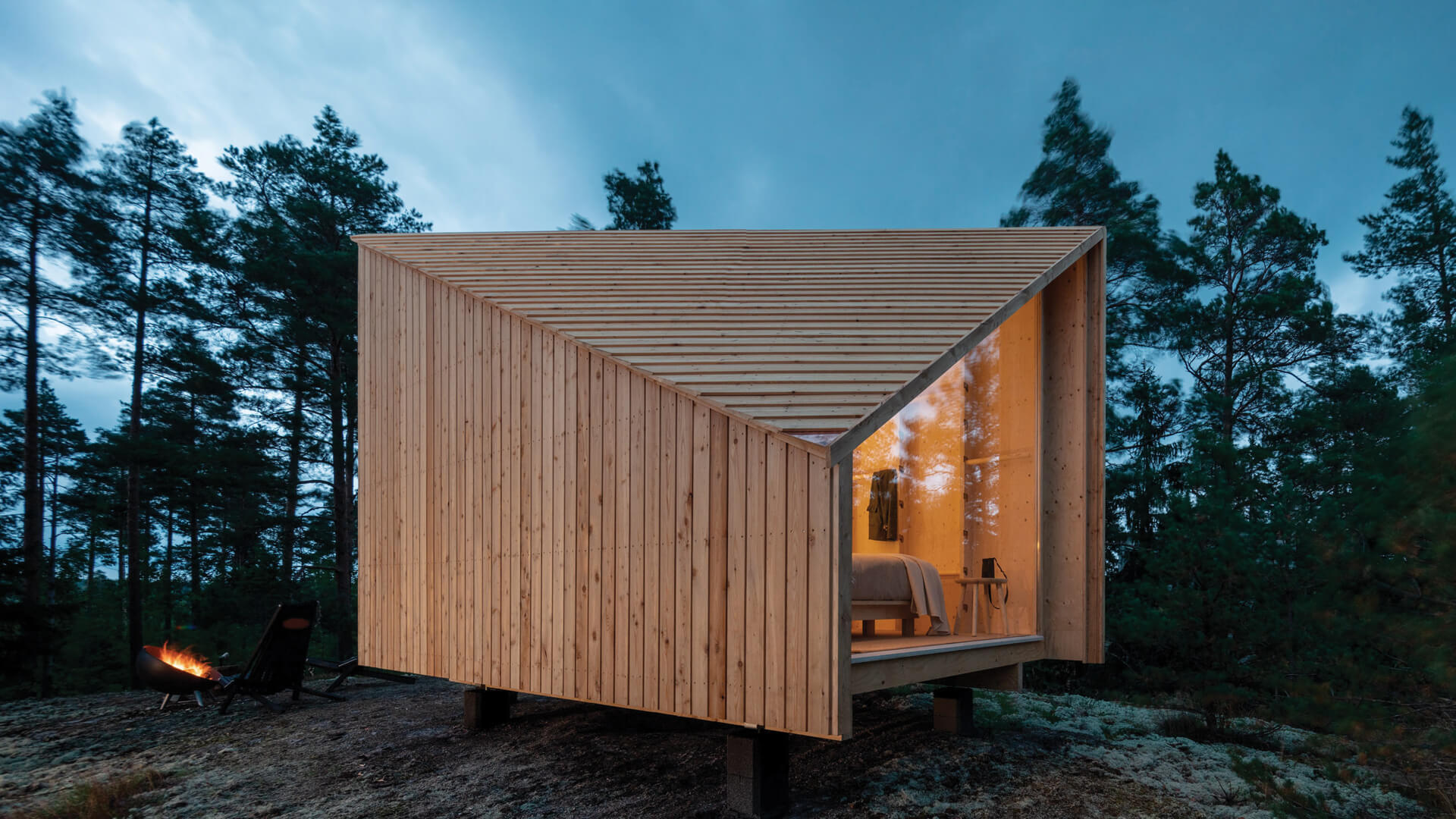 Studio Puisto's lightweight prefab cabin Space of Mind comes with modular interiors