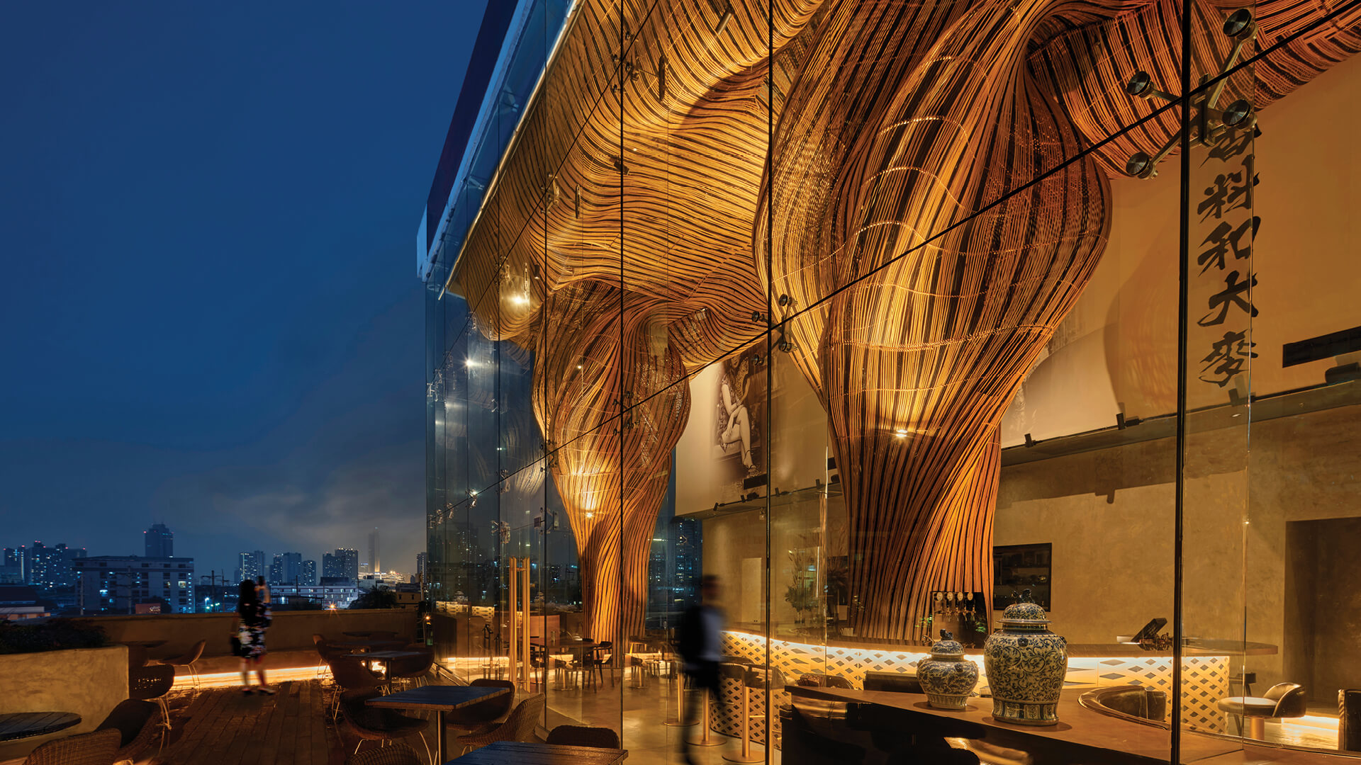 Spice and Barley restaurant's interiors and rattan columns by Enter Projects Asia | Spice and Barley Interiors | Enter Projects Asia/ The Rattan Project | STIRworld