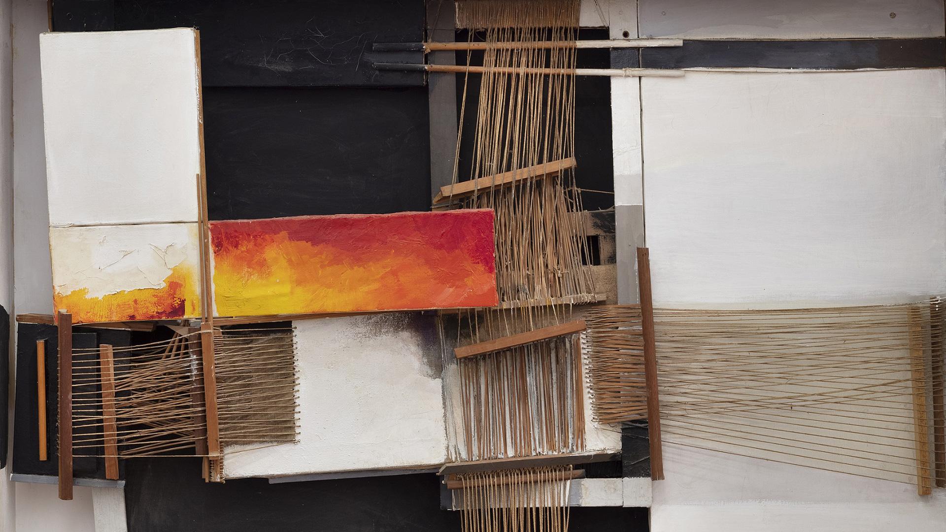 Telaio del meriggio, 1967, wood, twine, canvas, paint, 100 x 153 x 20 cm, Collezione Fondazione Stazione dell'Arte | Holding the Sun by the Hand | Maria Lai | STIRworld