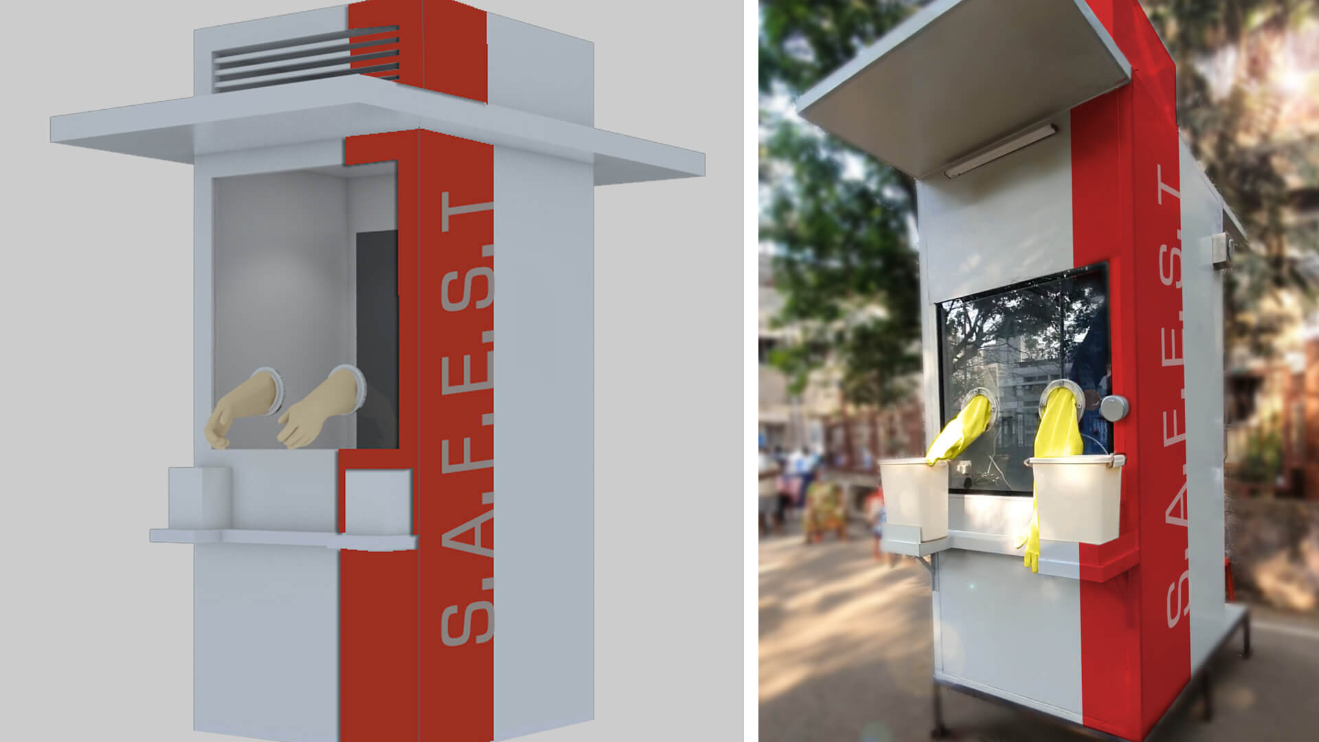The concept sketch of the SAFEST cabin, Right: On site installation of the SAFEST cabin  | Safest Cabin | Swab Testing centre | Mumbai hospital | STIRworld