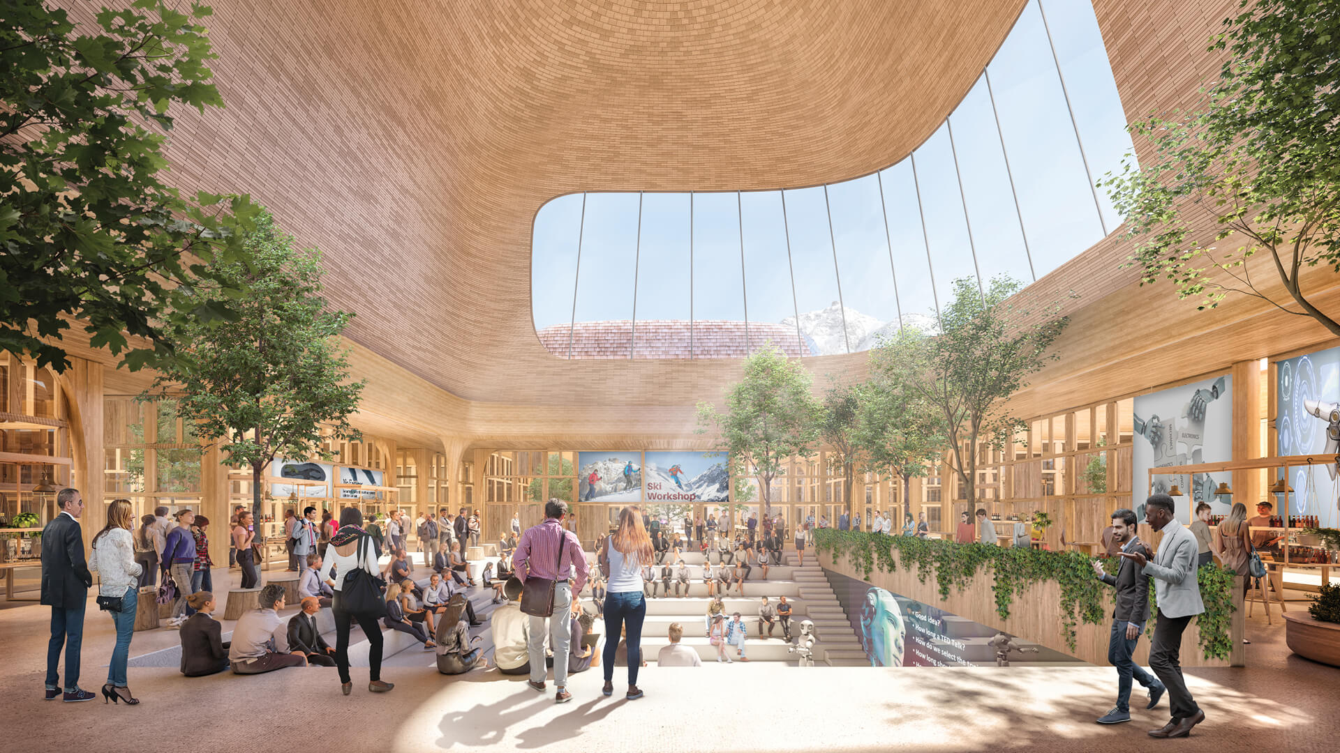 The Innhub La Punt by Foster+Partners is defined by its contoured roofscape, translating to a lofty atrium beneath  Innhub La Punt  Foster+Partners   STIRworld