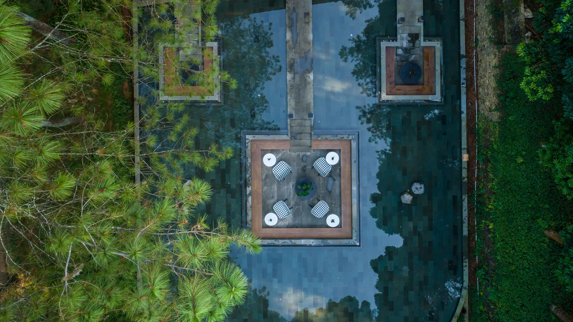 The Lakehouse restaurant sits amid the lush pine forest in Jawa Barat, Indonesia