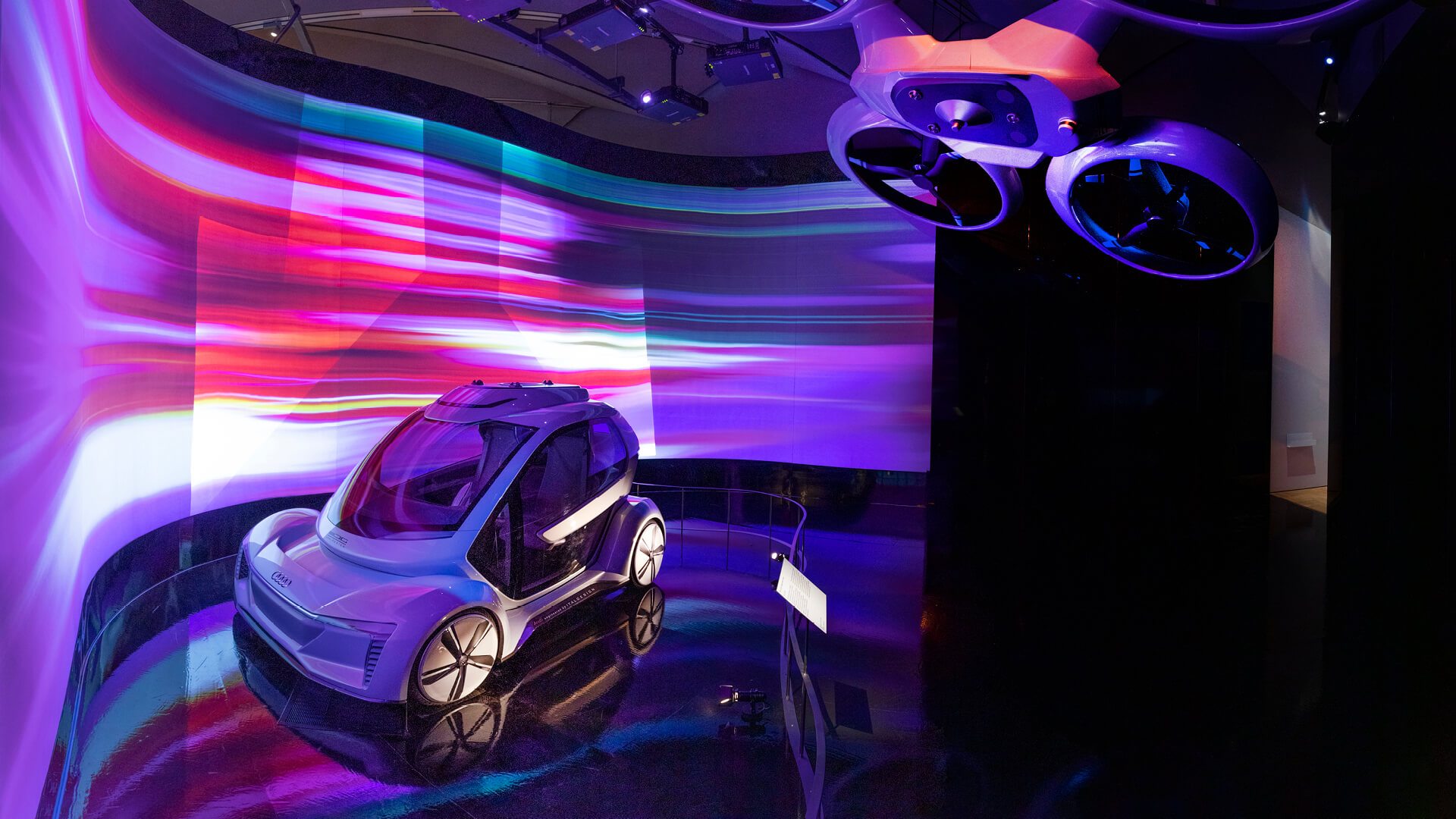 The Pop.Up Next flying car (2018) by Italdesign with Airbus and Audi AG, in situ at Cars: Accelerating the Modern World at the Victoria and Albert Museum, London | Cars: Accelerating the Modern World | STIRworld