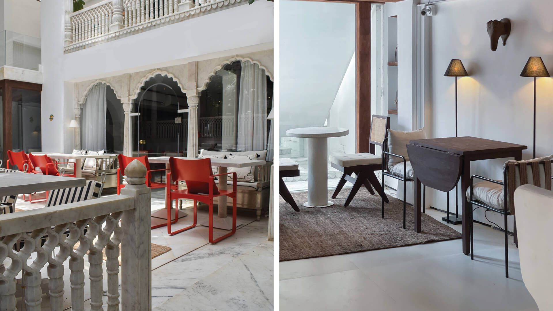 Marble interior and warmth coexist in Joshi House, a restaurant by Ashiesh Shah