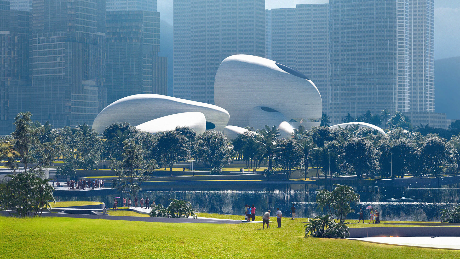 "The Shenzhen Bay Culture Park set between ""the young vibrant city of Shenzhen, and the quiet oceanfront""