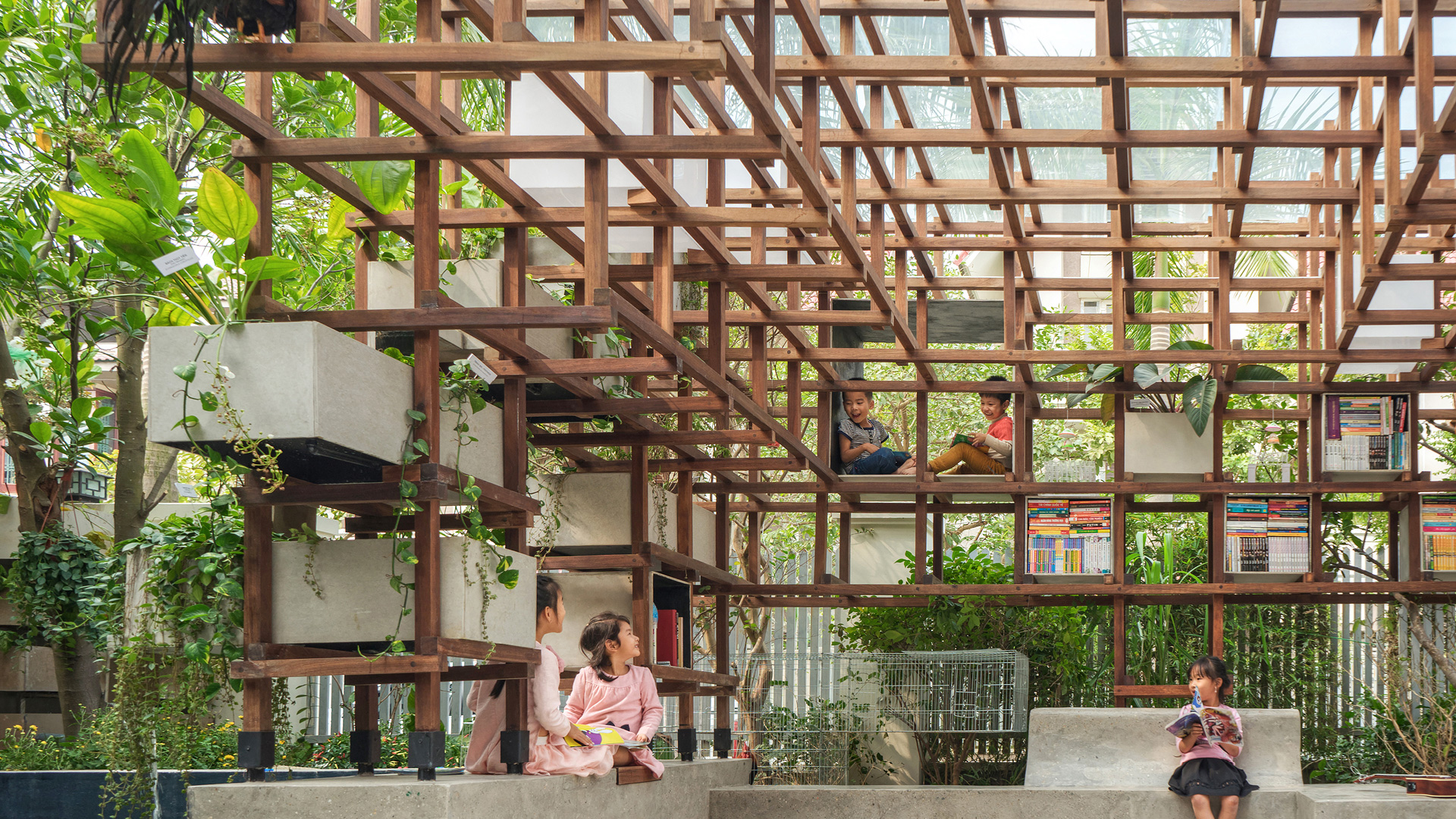 The Vac Library In Hanoi Brings Together Children Plants And Animals