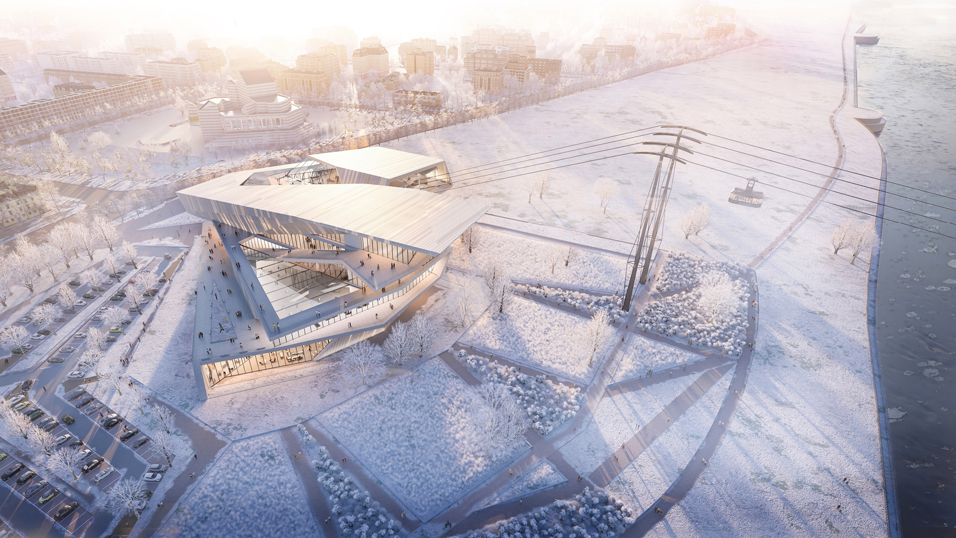 Visualised aerial view of the Blagoveshchensk-Heihe cable car terminal | Blagoveshchensk-Heihe cable car | UNStudio | STIR