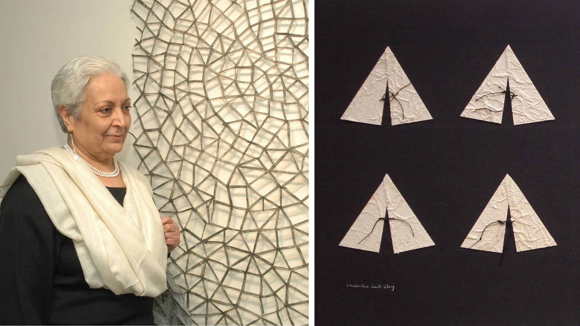 Zarina Hashmi (left), and her artwork 'Under the Dark Sky, Collage' | Zarina Hashmi | STIRworld