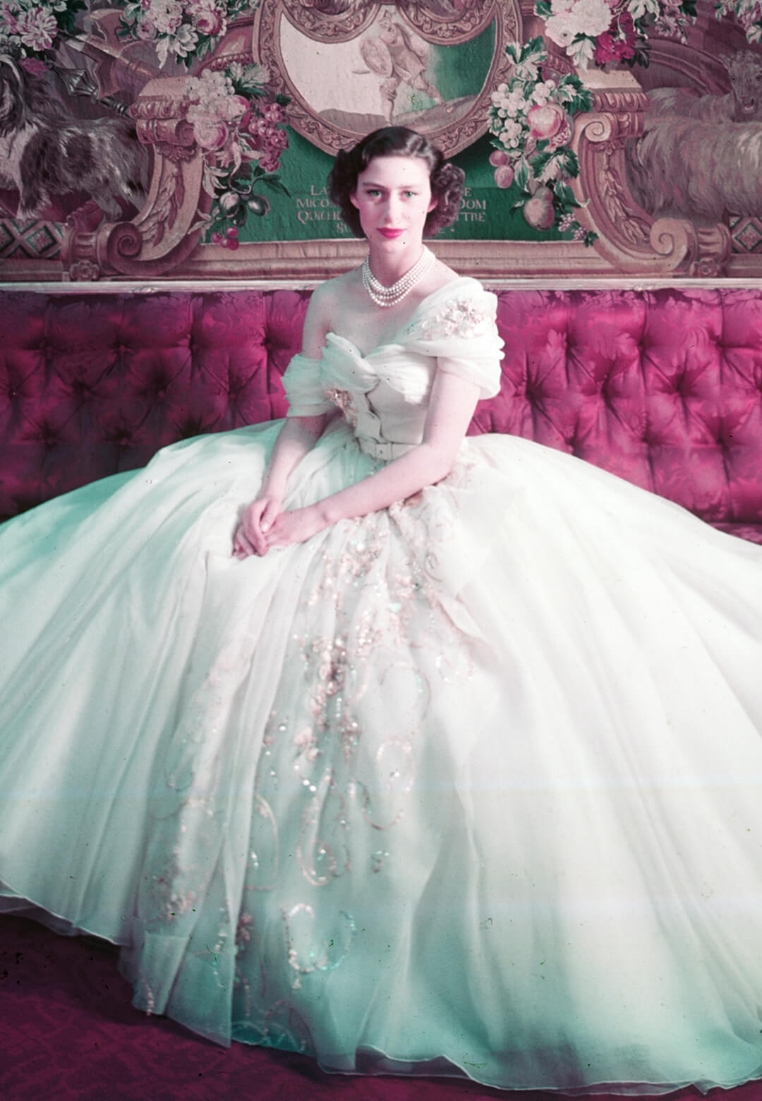 Princess Margaret (1930-2002) photographed by Cecil Beaton in a dress designed by Christian Dior for her 21st birthday celebrations