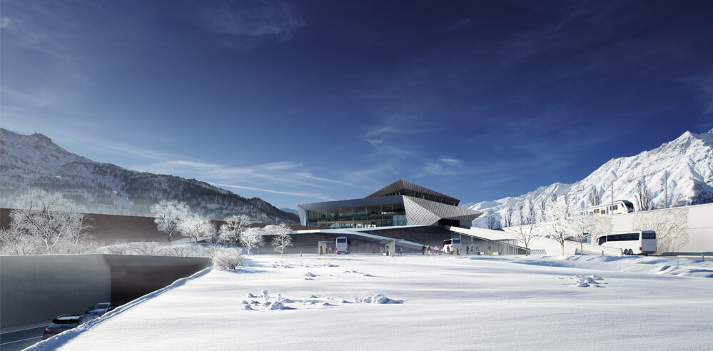 The Susa International Train Station lays low while blending with the context