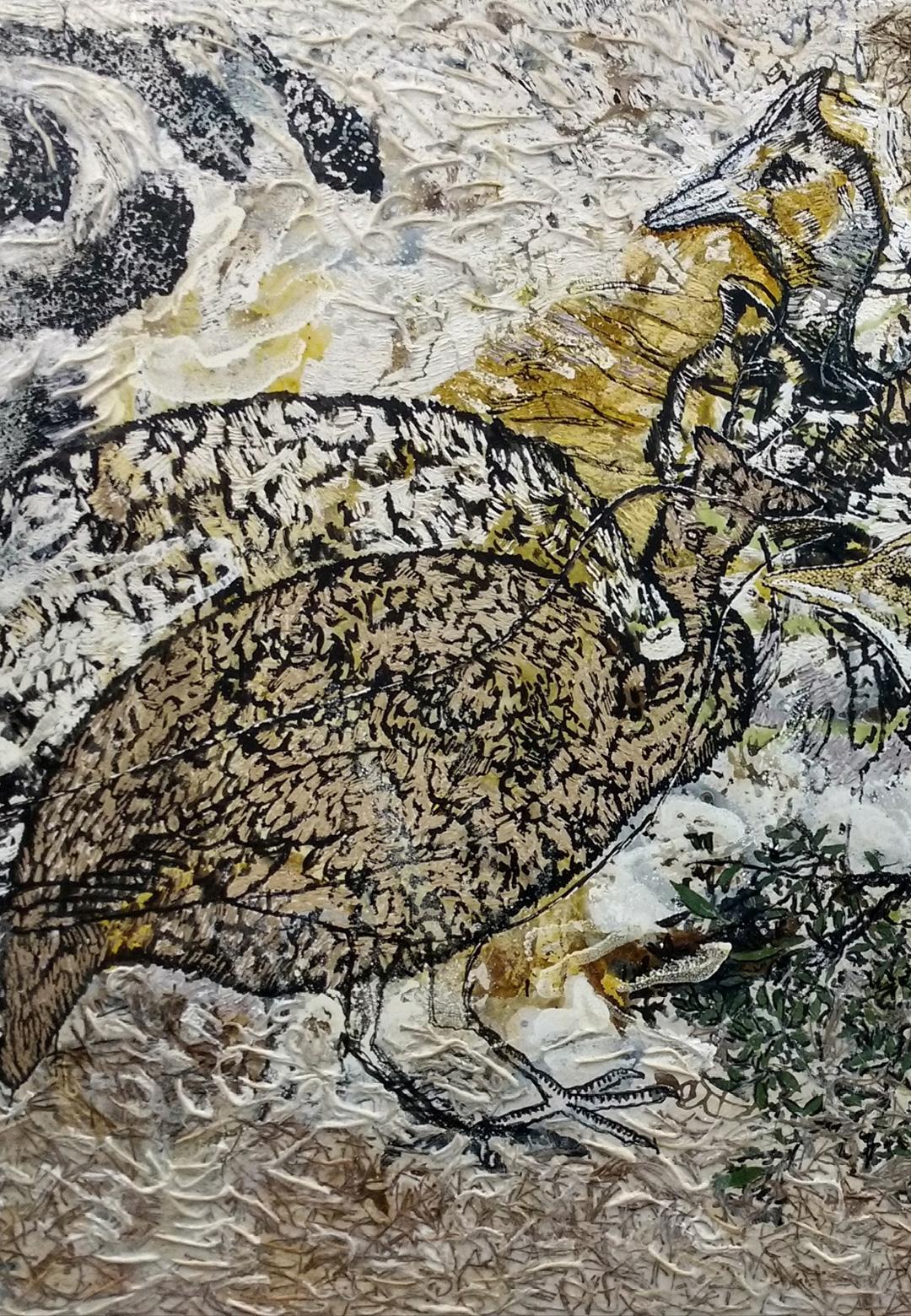 Jayashree Chakravarty; Oil, acrylic jute, leaf cotton paper on canvas, 2018| Akar Prakar| STIR