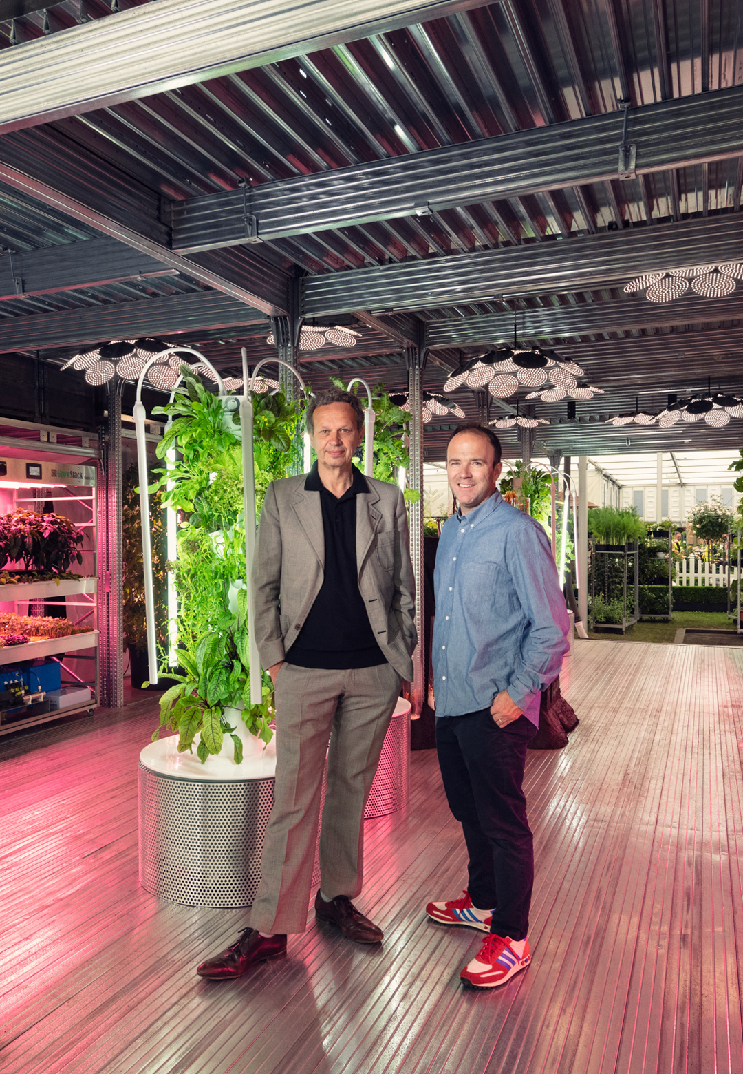 Tom Dixon and James Futcher, creative leader at IKEA Range and Supply, at the Chelsea Flower Show| Chelsea Flower Show | Tom Dixon| IKEA| STIR