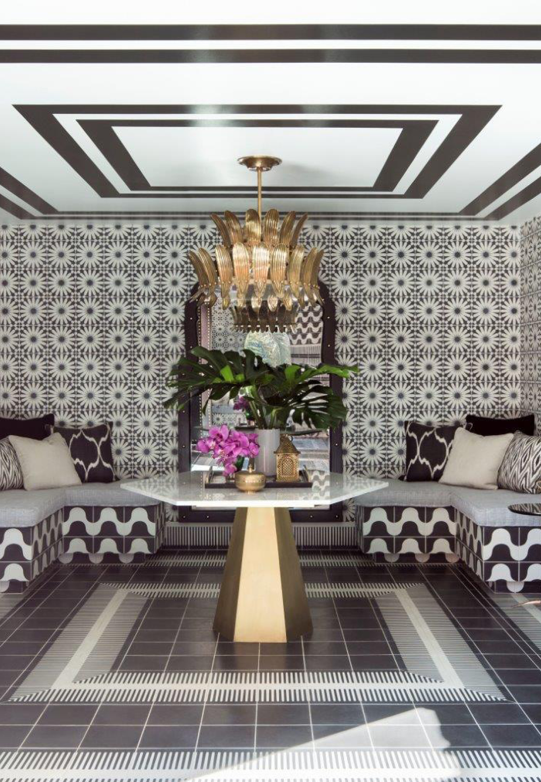 The lobby gives the guests a stunning preview of the graphic tiling work they can expect in the rooms |The Sands Hotel and Spa | Martyn Lawrence Bullard| STIR