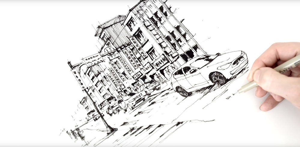 Picturing a street in Taipei – a drawing tutorial by Dan Hogman