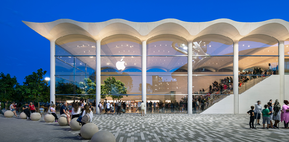The new Apple store in Miami by Foster + Partners features an undulated, vaulted roof
