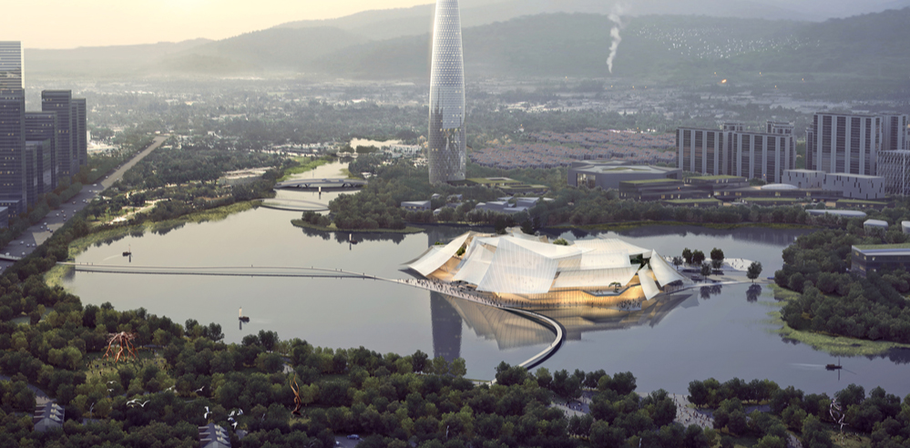 MAD's Yiwu Grand Theater will soon float over China's Dongyang river