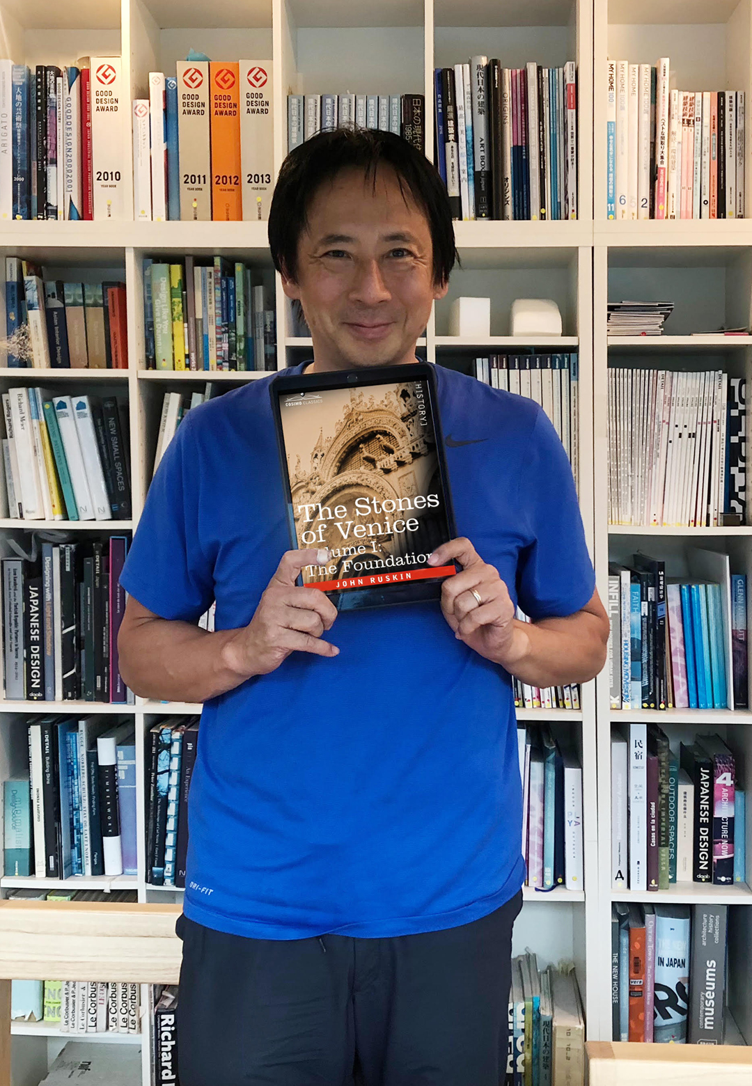Architect Takaharu Tezuka with the book The Stones of Venice |The Stones of Venice | John Ruskin | J. G. Links | Takaharu Tezuka | STIR