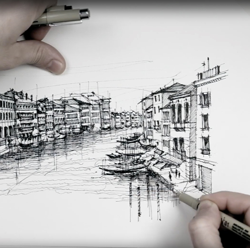 Sketching a Venetian panorama - a drawing tutorial by Dan Hogman