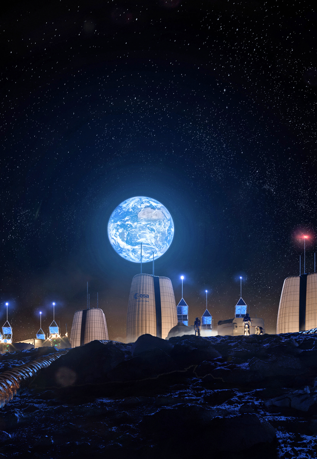 View of the earth from the Moon Village | Moon Village | Skidmore, Owings & Merrill  | STIRworld