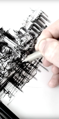 Sketching the Palace of Fine Arts - a drawing tutorial by Dan Hogman