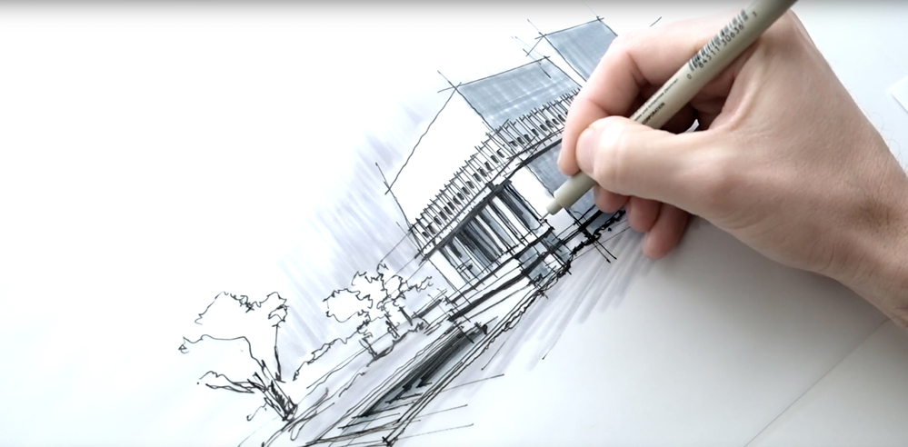 Sketching FLW's Hollyhock House - a drawing tutorial by Dan Hogman