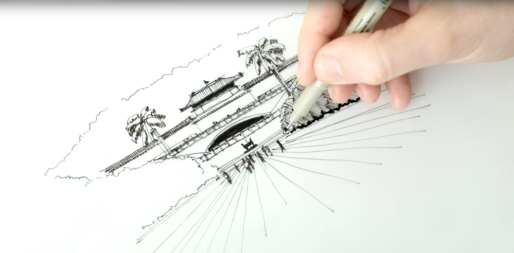 Sketching the National Palace Museum, Taipei - a drawing tutorial by Dan Hogman
