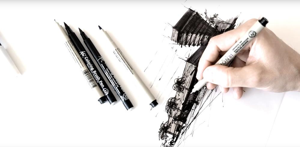 Sketching the de Young Museum - a drawing tutorial by Dan Hogman