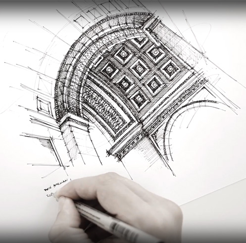 Sketching the Arc de Triomphe Paris - a drawing tutorial by Dan Hogman