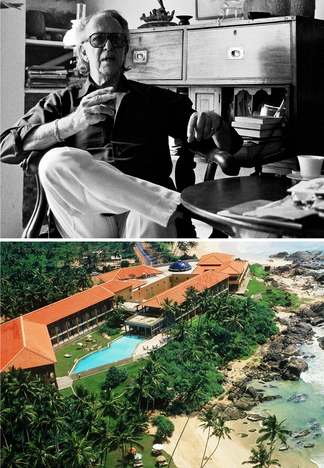 L: Geoffrey Bawa at his home on 33rd Lane, in 1989; R: Lighthouse Hotel |Geoffrey Bawa| STIRworld