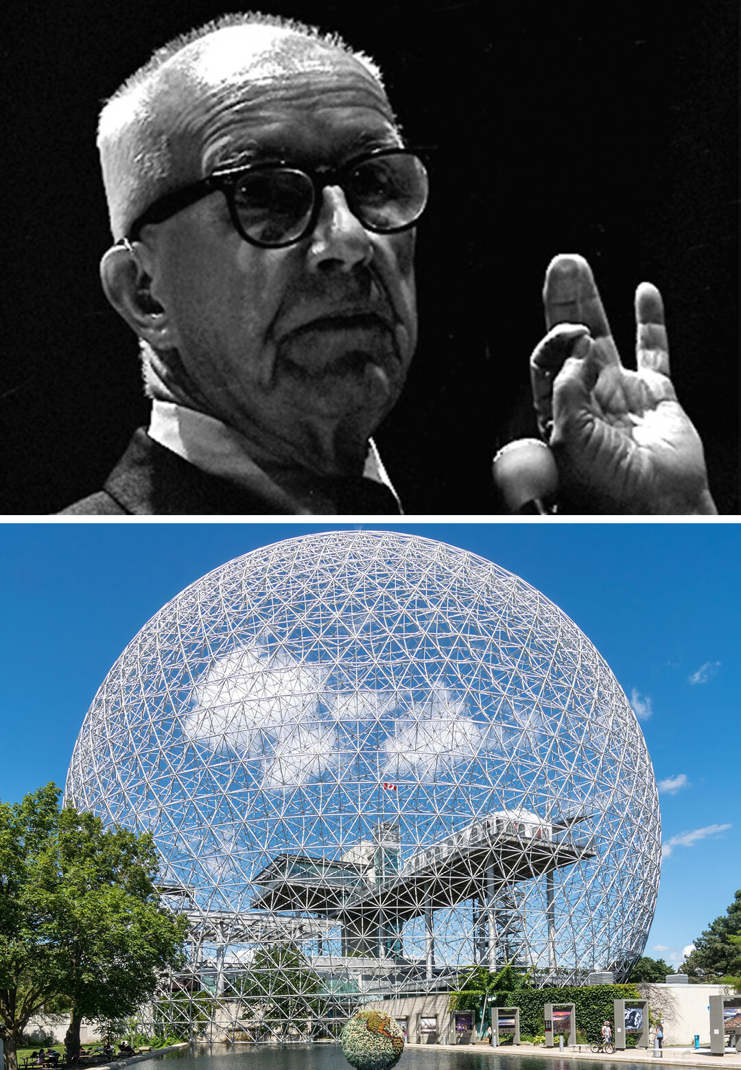 (Left) Architect Richard Buckminster Fuller and (Right) his Geodesic dome at the Montreal Biosphere museum | Richard Buckminster Fuller | STIRworld