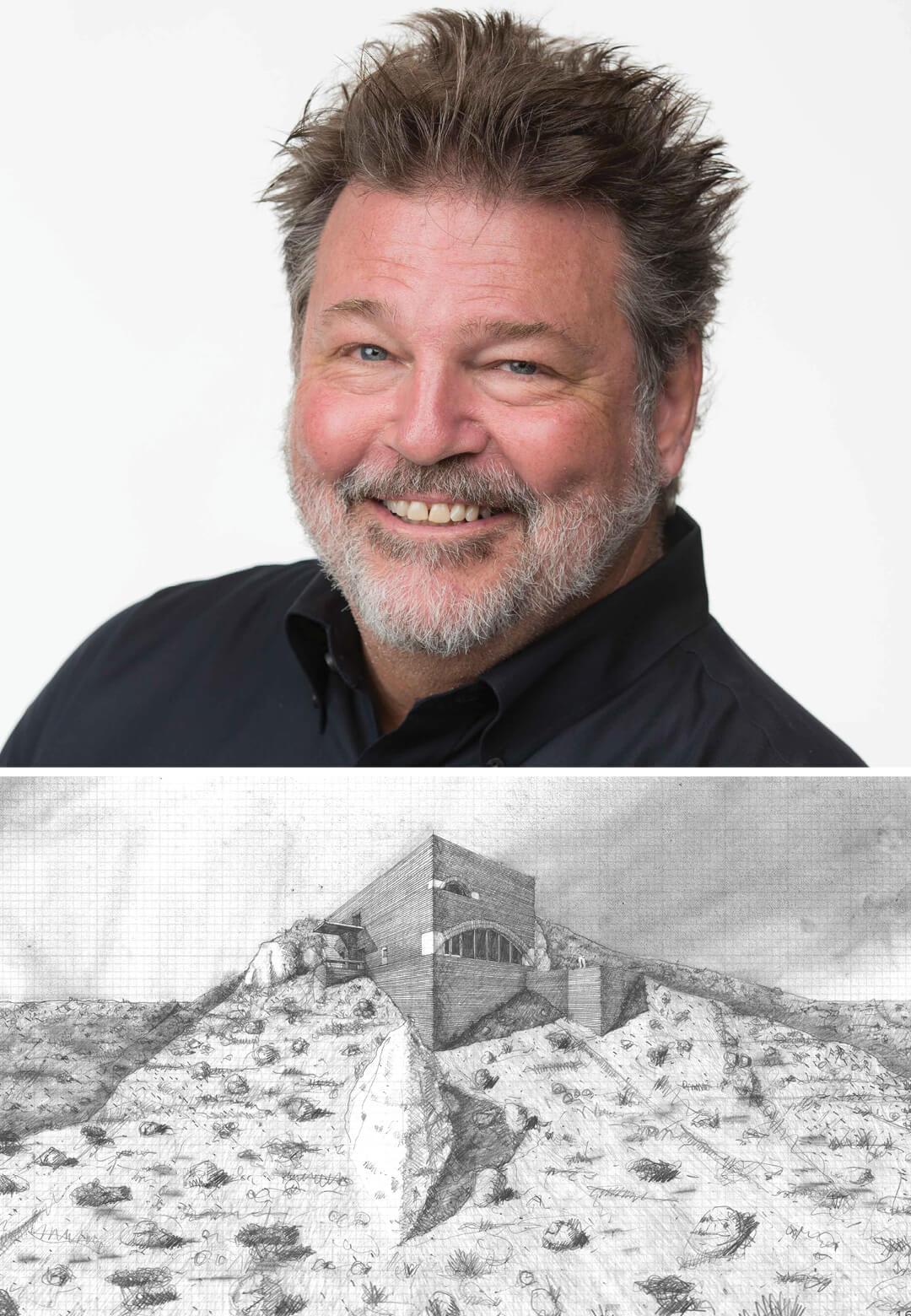 Eddie Jones (left); Crater House, Coconino County, Arizona, 2016 (unbuilt) | In conversation with Eddie Jones | Vladimir Belogolovsky | STIRworld