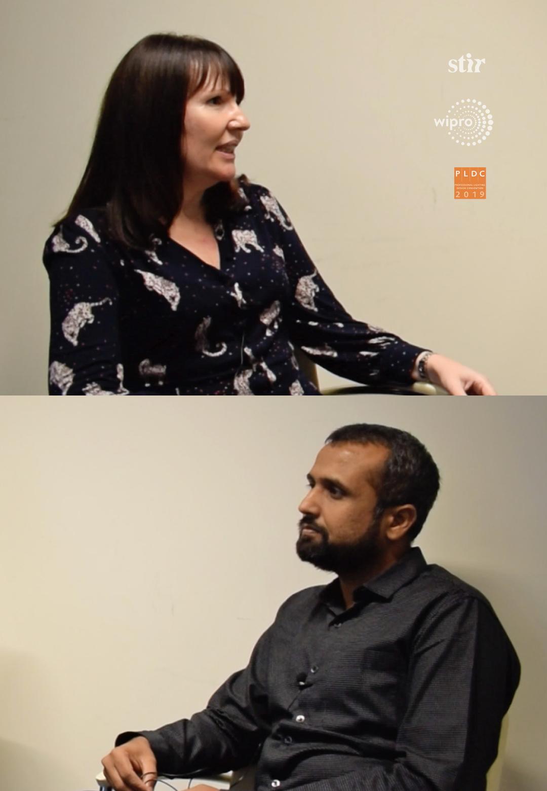 Linus Lopez (centre) in conversation with lighting designers Lorraine Calcott (left) and Nirmit Jhaveri (right), for Spread the Light | Lorraine Calcott| Nirmit Jhaveri | PLDC 2019 | Spread the Light| STIRworld