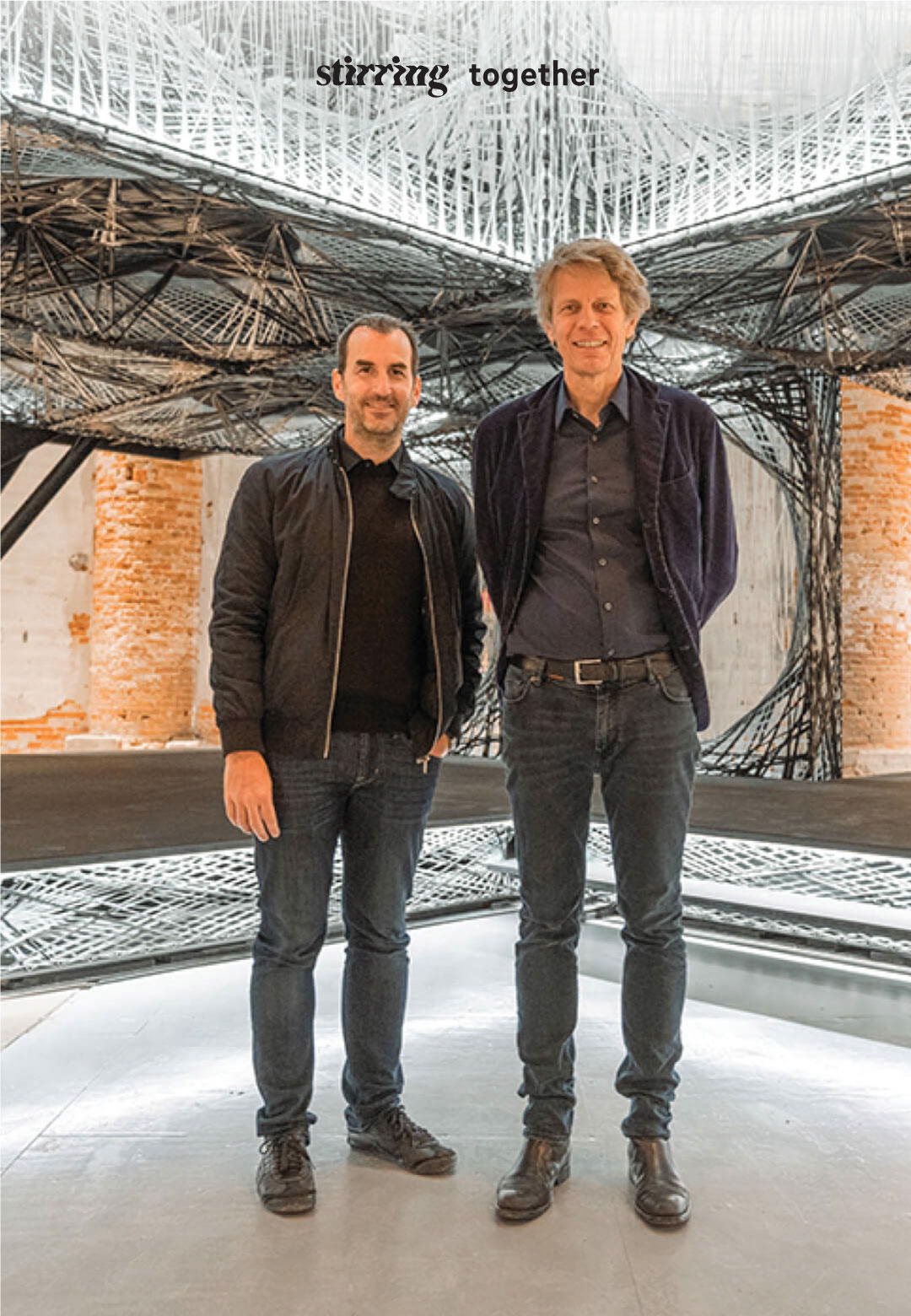 Achim Menges and Jan Knippers in front of the Maison Fibre at the Venice Architecture Biennale   Maison Fibre  Achim Menges   Jan Knippers   STIRworld