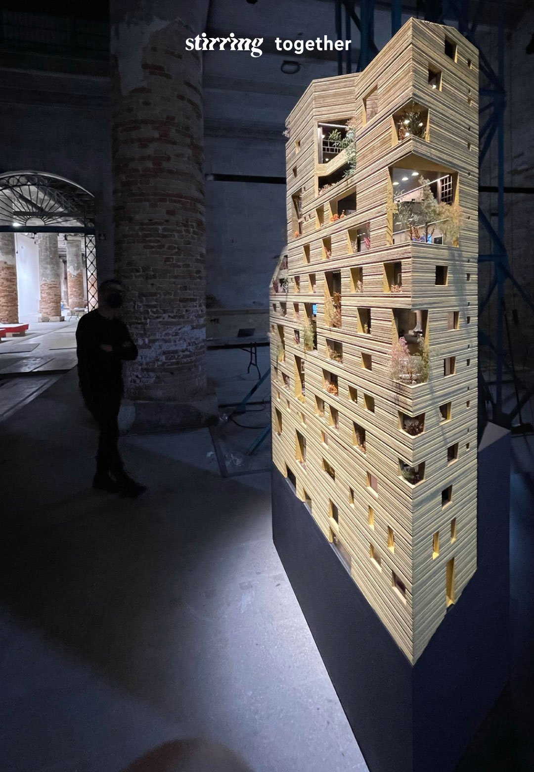 L to R: Stone Garden Housing in Beirut, Lebanon; 1:30 scale physical model of the building at Venice Architecture Biennale; architect Lina Ghotmeh   STIRworld