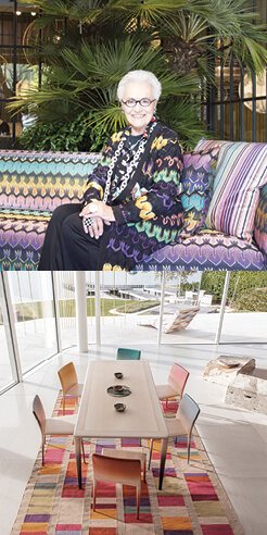 The MissoniHome 2021 collection revels in geometric patterns and vibrant colours