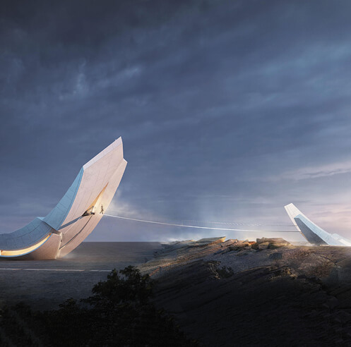 Anchor of the Plates envisioned by 00Group bridges vast tectonic plates in Iceland