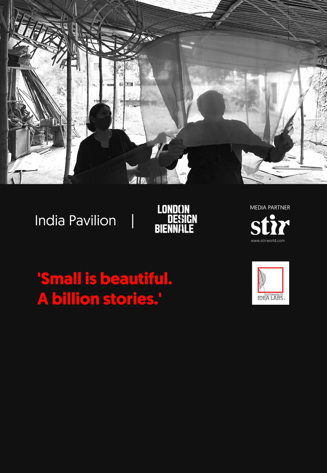 Nisha Mathew Ghosh and Soumitro Ghosh working on the India Pavilion installation | India Pavilion | London Design Biennale 2021 | STIRworld
