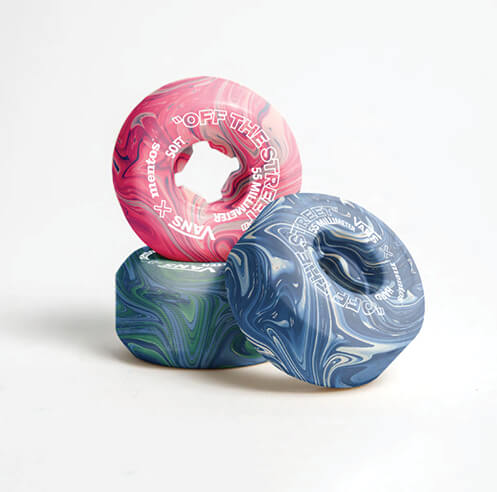 A design by French students transforms chewing gum waste into skateboard wheels