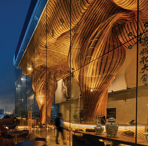 A 'glocal' eco-innovation: Enter Projects Asia's swirling columns at Spice and Barley