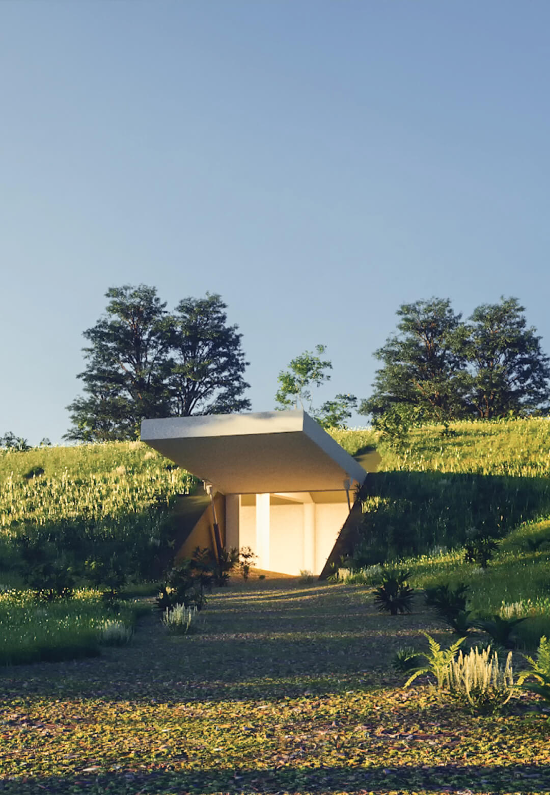 The bunker can be accessed through a military-grade door, camouflaged on a green-covered hill | DBX Bunker | ABIBOO Studio Alfredo Muñoz | STIRworld