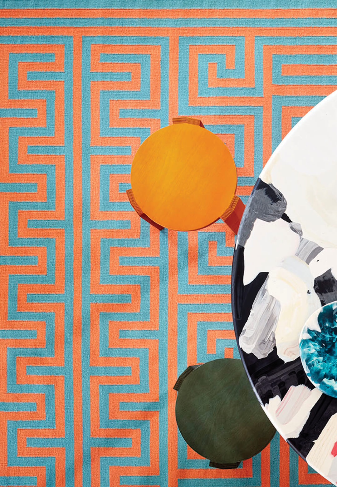 Meandros Mint, from the Mediterranean rug collection by Adam Nathaniel Furman for FLOOR_STORY | Mediterranean rug collection for Floor Story, by Adam Nathaniel Furman | STIRworld