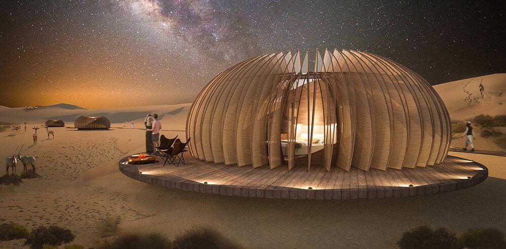 AIDIA STUDIO conceptualises Rub' al Khali Oculus, a desert pod complex in Abu Dhabi