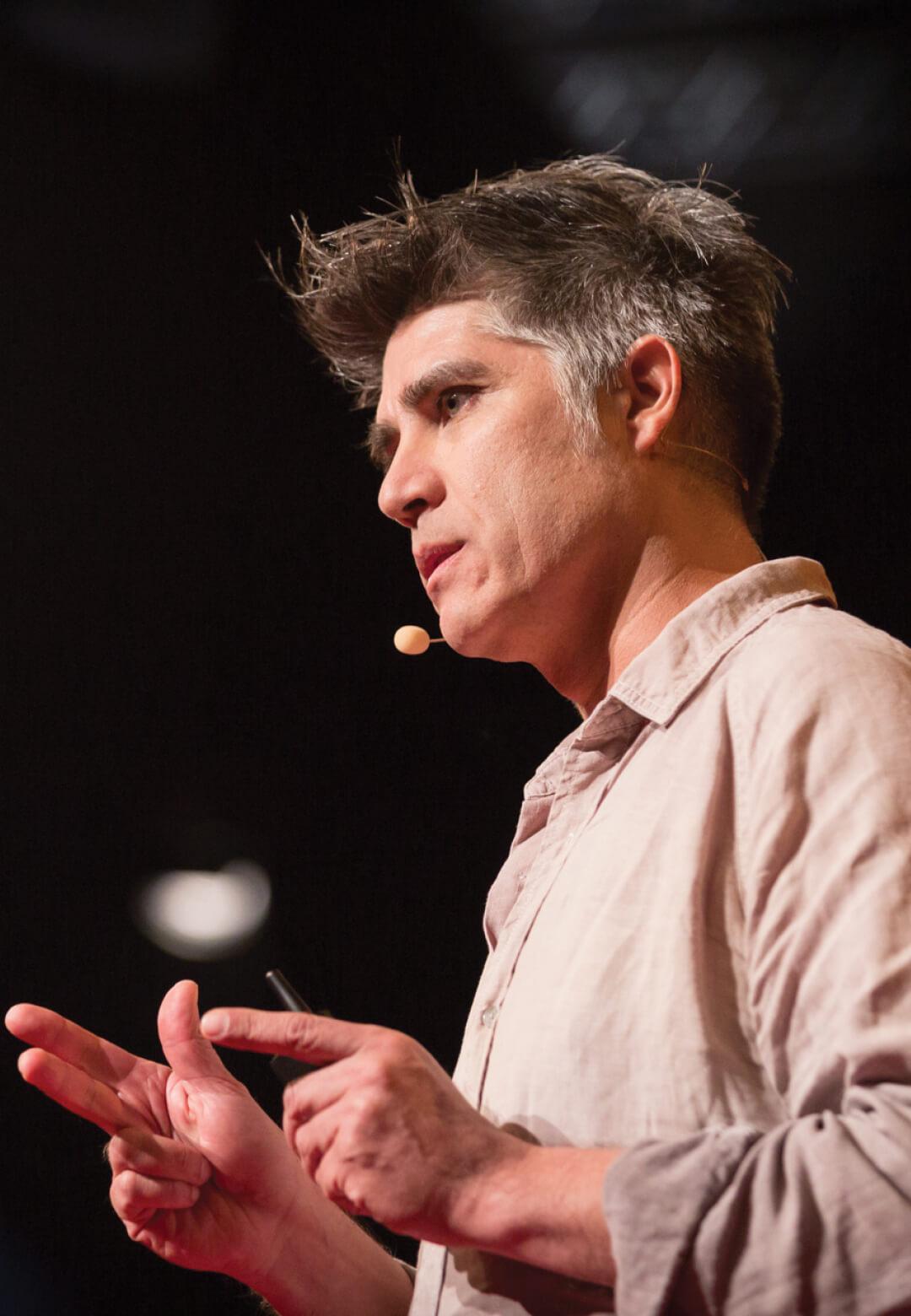 Pritzker Prize laureate Alejandro Aravena giving a presentation   Alejandro Aravena   Pritzker Architecture Prize   STIRworld