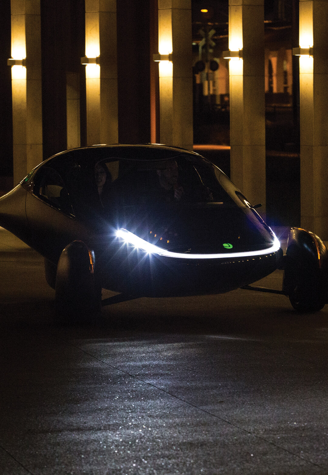 "Aptera is a three wheeler solar ""no charge"" vehicle 