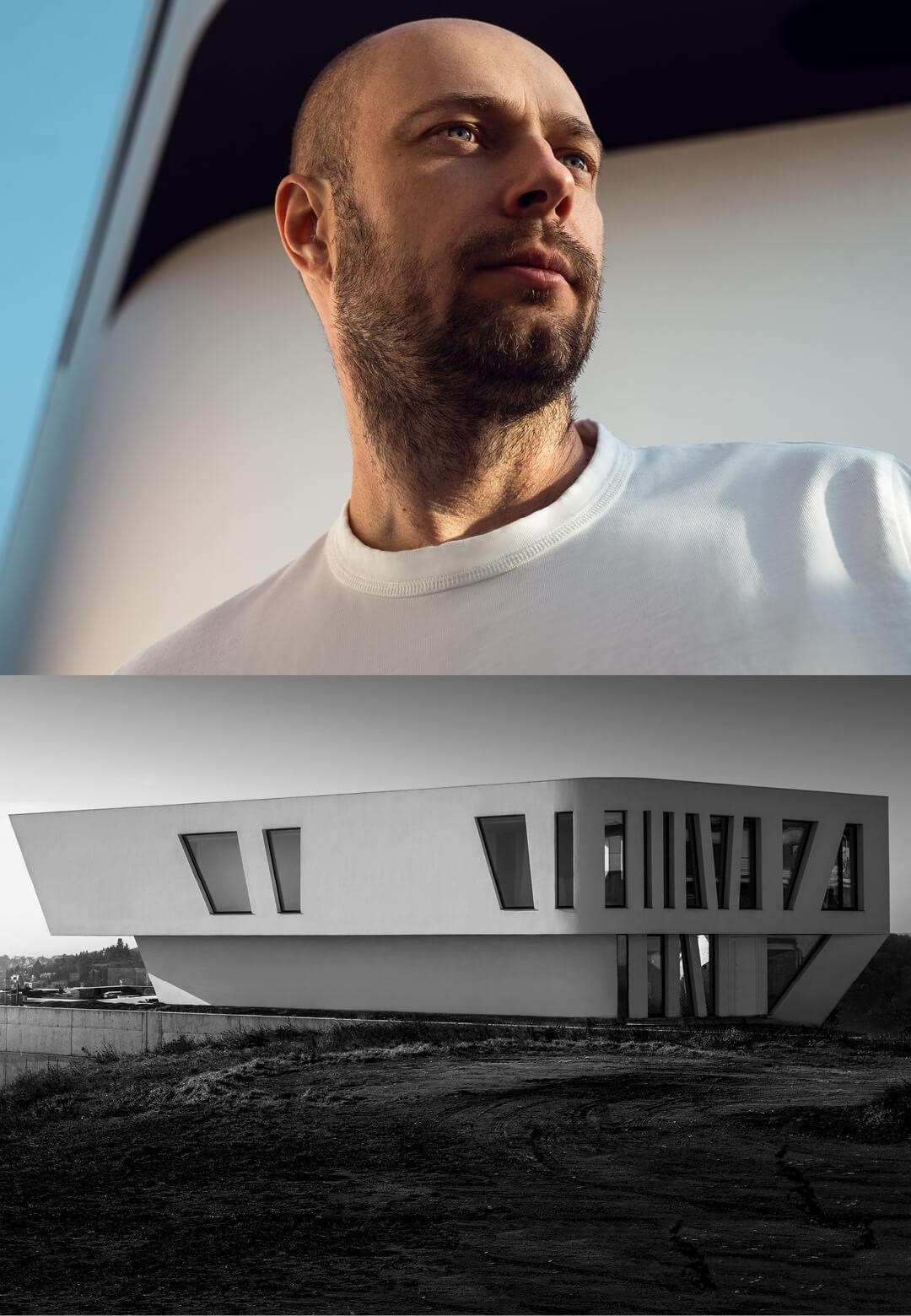 (L): Slovakian artist and architect Jan Revaj, and (R): Villa Sky designed by JanRevaj Architects draws inspiration from a woman | 22 White Gem Villas | JanRevaj Architects | STIRworld